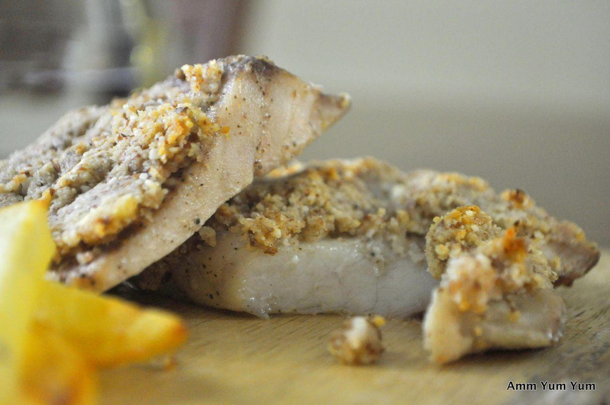 Baked Fish Almondine close up